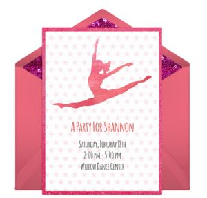 Online Gymnastics Party Invitations