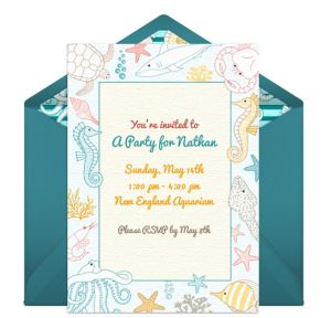Online Under the Sea Birthday Invitations