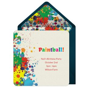 Online Paintball Splatter Invitations