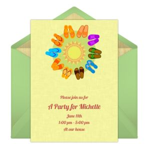 Online Summer Sandals - Green Invitations