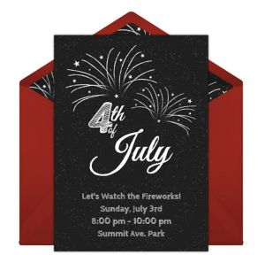 Online 4th of July Chalkboard - Red Invitations