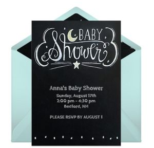 Online Chalkboard Baby Shower - Blue Invitations
