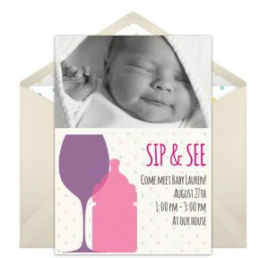 Online Sip See - Pink Photo Invitations