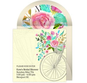 Online Bridal Shower Bicycle Invitations