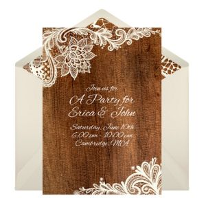 Online Rustic Lace Invitations