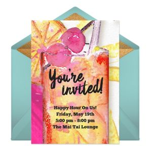 Online Retro Cocktails Invitations
