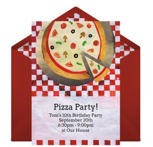Online Pizza Pie Collage Invitations