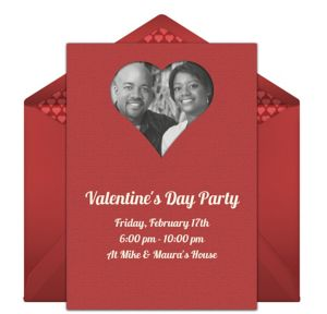 Online Heart Frame - Red Photo Invitations