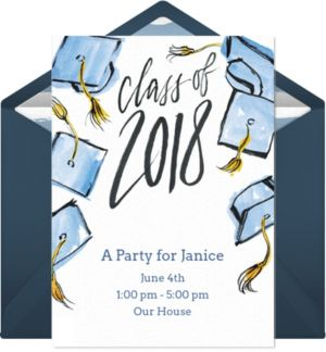 Online Grad Cap Celebration Invitations