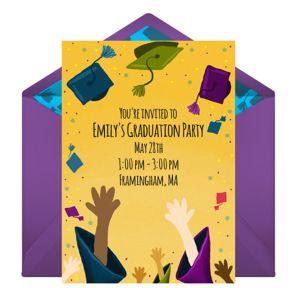 Online Grad Hat Toss Invitations