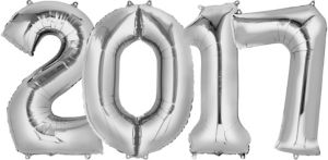 Giant Silver 2017 Number Balloons 4pc