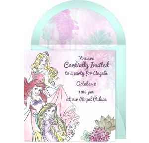 Online Disney Princess Watercolor Invitations