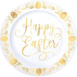 Metallic Gold Easter Premium Plastic Dinner Plates 10ct