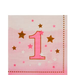 Pink Twinkle Twinkle Little Star 1st Birthday Lunch Napkins 16ct