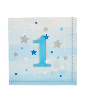 Blue Twinkle Twinkle Little Star 1st Birthday Lunch Napkins 16ct