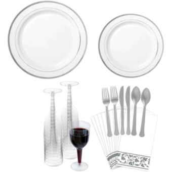 Premium Silver-Trimmed Tableware Kit for 20 Guests