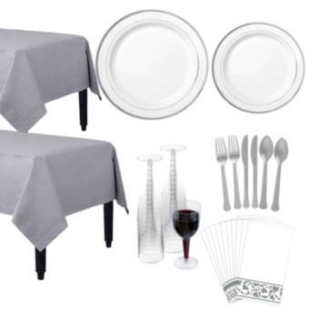 Premium White Silver-Trimmed Deluxe Tableware Kit for 20 Guests