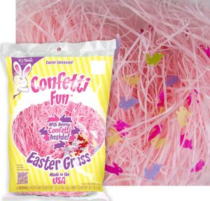 Pink Plastic Easter Grass with Confetti