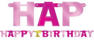 Metallic Pink 1st Birthday Banner