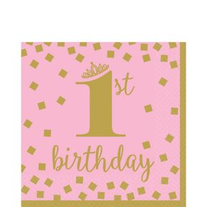 Pink & Gold 1st Birthday Lunch Napkins 16ct