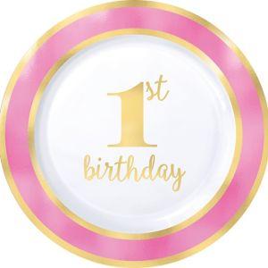 Metallic Pink & Gold 1st Birthday Premium Plastic Dinner Plates 10ct
