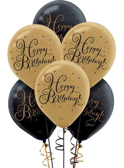 Black Amp Gold Birthday Balloons 15ct Party City