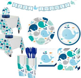 Blue Baby Whale Premium Baby Shower Tableware Kit for 32 Guests