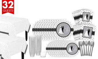 Black & White Wedding Bridal Shower Tableware Kit for 32 Guests