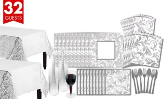 Silver Wedding Bridal Shower Tableware Kit for 32 Guests
