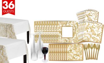 Golden Wedding Bridal Shower Tableware Kit for 36 Guests