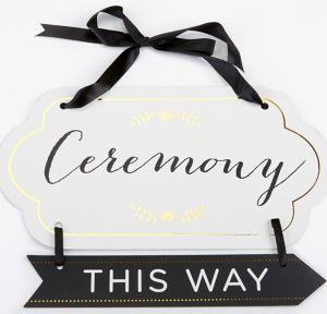 Black & White Arrow Ceremony Sign