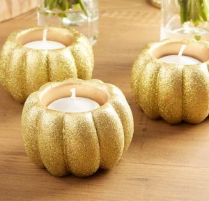 Glitter Gold Pumpkin Votive Candle Holders 2ct