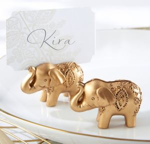Gold Lucky Elephant Place Card Holders 6ct