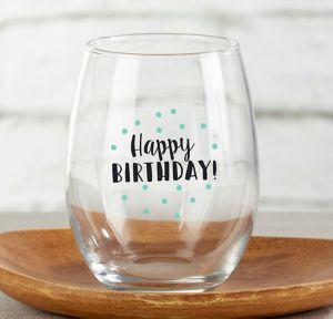 Happy Birthday Stemless Wine Glasses 4ct