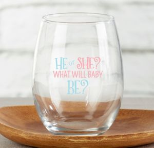 He Or She Stemless Wine Glasses 4ct