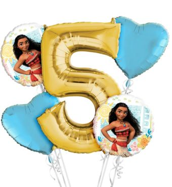 Moana 5th Birthday Balloon Bouquet 5pc