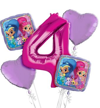 Shimmer and Shine 4th Birthday Balloon Bouquet 5pc