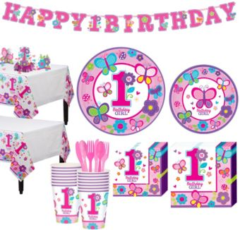 Sweet Girl 1st Birthday Party Kit for 18 Guests