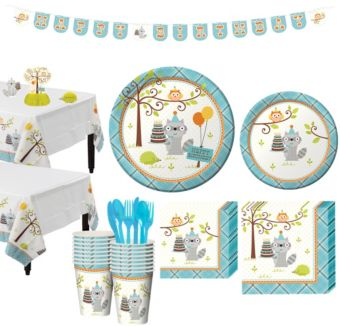 Boys Happi Woodland 1st Birthday Party Kit for 16 Guests