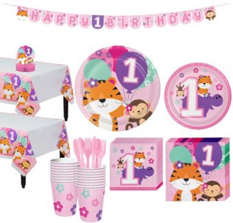 Pink One is Fun 1st Birthday Party Kit for 16 Guests