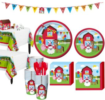 Farmhouse Fun 1st Birthday Party Kit for 32 Guests