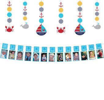 Ahoy Nautical 1st Birthday Decorating Kit