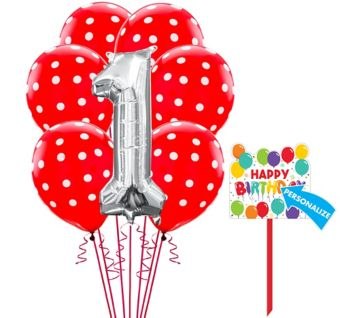 Rainbow 1st Birthday Yard Sign Kit with Balloons