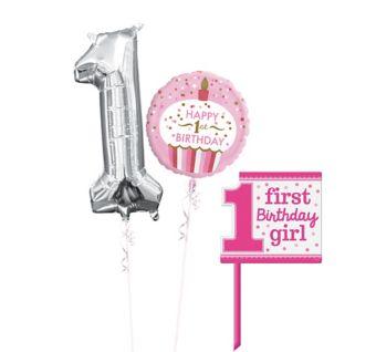 Polka Dot Girl 1st Birthday Yard Sign Kit with Balloons