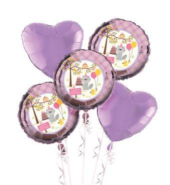 Girls Happi Woodland 1st Birthday Balloon Bouquet