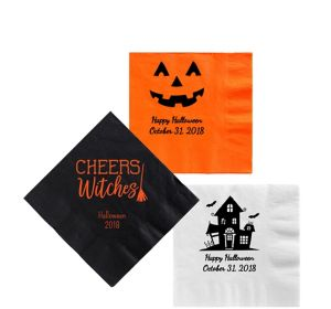 Personalized Halloween Beverage Napkins