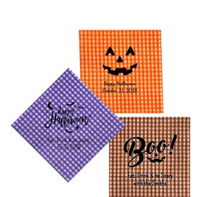 Personalized Halloween Gingham Beverage Napkins