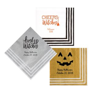Personalized Halloween Stripe Border Lunch Napkins
