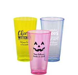 Personalized Halloween Neon Hard Plastic Cups 16oz