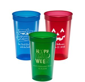 Personalized Halloween Translucent Plastic Stadium Cups 22oz